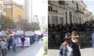 Imágenes de La Paz durante la mañana del 1 de mayo: (izda.) movilización de trabajadores; (dcha.) protección policial de la sede del Gobierno. Foto: J.J. Gómez Martínez