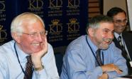 De izquierda a derecha, el consejero 'Äôsenior'Äô de Morgan Stanley, David Walker, el premio Nobel de Economía Paul Krugman y Jaime Caruana. Foto: Group30