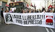 Corte de tráfico el 11 de mayo en la Via Laieatana de Barcelona por la libertad de Laura Gómez. Foto: Revista Catalunya (CGT)