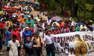 Protesta en contra de reformas al codigo minero realizada por indígenas Ngabe Bugle en San Felix, provincia de Chiriqui, Panama. Foto: Luis Eduardo Guillen