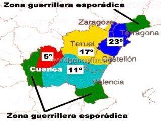 Mapa de los sectores guerrilleros de la AGLA.